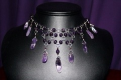 Amethyst & Swarovski Crystal Necklace-This is a detail of the present that is being opened in the first image of this post.